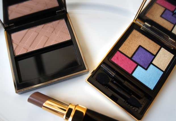 From the left, Burberry blusher in Earthy; YSL Couture Palette 11 (Ballet Russes); Chanel Rouge Coco Shine lipstick in Chic.