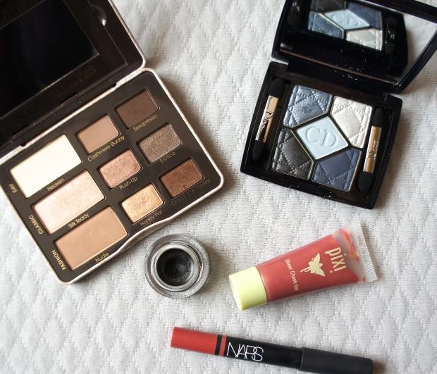 Too Faced Natural Eyes eyeshadow palette (shade Honeypot); Dior eyeshadow quint in Bleu de Paris; Pixi Beauty Sheer Cheek Gel in Natural; NARS Satin Lip Pencil in Rikugien; MAC Fluidline in Blacktrack.