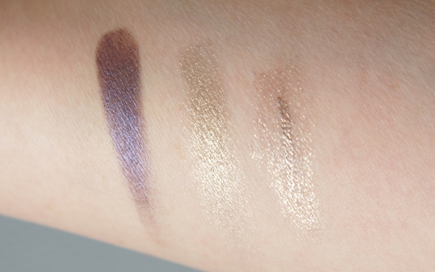 From the left: Purple and gold shades from NARS eyeshadow duo in Kauai; Chanel liquid liner in Platine.