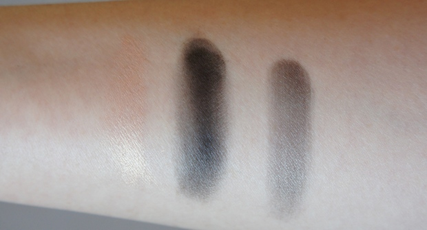 From the left: Dior Glow Maximizer Primer; Blackout eyeshadow from the Urban Decay Naked 2 palette; primer and shadow, mixed.