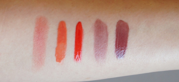 From the left: Rouge Dior Nude Lip Blush in Charnelle; Dior Addict Fluid Stick in Mirage; Revlon Colorstay Moisture Stain in Shanghai Sizzle; Bobbi Brown Lip Color in Blackberry; Chanel Rouge Allure gloss (recently reformulated) in Controversy.